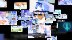 Fly through of Asian and Caucasian medical researchers working in laboratory  Stock Footage