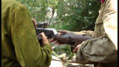 Two soldiers with machine gun. Soviet army uniform, click for HD Stock Footage