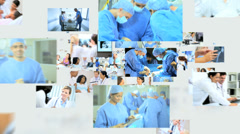 3D montage fly through of Multi ethnic hospital doctors team text background Stock Footage