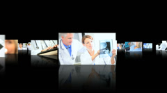 3D fly through Multi ethnic doctors nurses patients medical hospital - stock footage