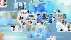 Stock Video Footage of 3D fly through Multi ethnic doctors operating in hospital text background