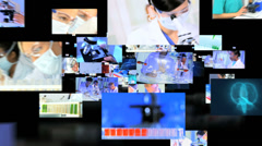 Stock Video Footage of Montage fly through of Multi ethnic medical researchers using 3D touch screen