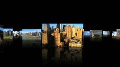 3D montage New York panoramas aerial Manhattan Stock Footage