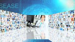 3D tulevaisuudessa videoseinä valkoihoinen Kiinan lääkärin tiimityötä potilaan t Arkistovideo