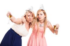 Drunk women celebrate Stock Photos
