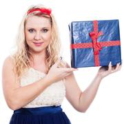 beautiful woman with present - stock photo