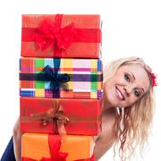 Stock Photo of happy woman with presents