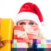 secret christmas woman - stock photo