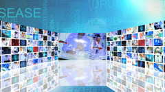 CG montage Chinese medical researcher 3D touch screen technology Stock Footage