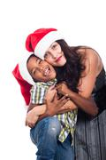 portrait of happy christmas family - stock photo