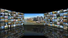 CG montage New York aerial Statue Liberty black background Stock Footage