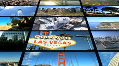 3D video wall USA destination New York Manhattan San Francisco Los Angeles - stock footage
