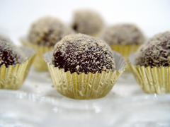 closeup of chocolate truffles - stock photo