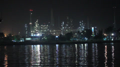 Night Lights Of The Big ship In Water. Stock Footage