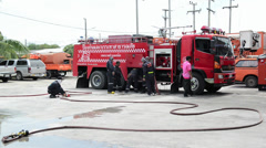 Demonstration of work of firemen at the  Provincial Electricity Authority Stock Footage