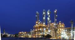 Night scene of petrochemical factory Stock Photos