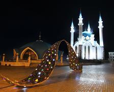 Kul sharif mosque in kazan kremlin at night Stock Photos