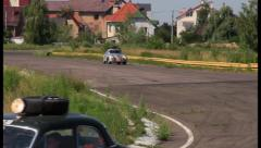 Porsche 356A and other retro cars in international rally, click for HD Stock Footage