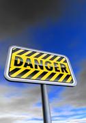 Danger sign against the blue sky - stock illustration