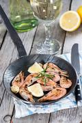 Shrimps in a skillet Stock Photos