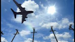 Airplane fly by sunny day blue sky. Aircraft passing by, click for HD Stock Footage