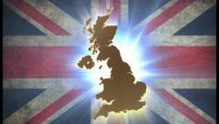 United Kingdom UK map with British flag on background, click for HD Stock Footage