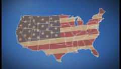 Unites States of America Map with Old Glory national flag, click for HD Stock Footage