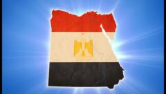 Egypt map with Egyptian flag on blue background, click for HD Stock Footage