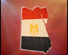 War in Egypt, Egyptian map with flag, crowd, guns background, click for HD Stock Footage