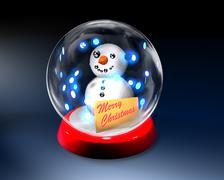 Glass globe with snowman - stock illustration