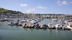 Boats Dartmouth harbour Devon on the River Dart Kingswear side - stock footage