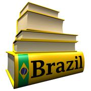 Guidebooks and dictionaries of Brazil - stock illustration