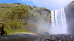 Big waterfall skogafoss2 Stock Footage