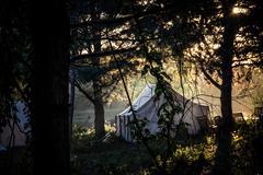 High Res - Civil War Camp site at Sunrise - stock photo