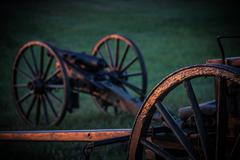 High Res - Civil War Camp - Canons at sunrise - stock photo