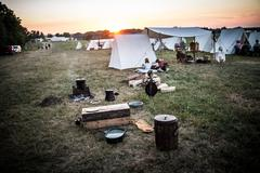 High Res - Civil War Camp at Sunrise - Wide - stock photo