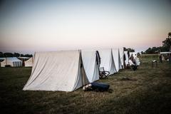 High Res - Union camp, tents in a row, sunset Stock Photos
