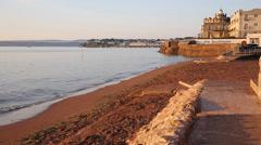 Paignton beach Torbay Devon England near tourist destinations of - stock footage