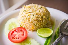 fired rice with crab - stock photo