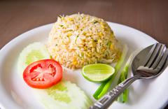 Fired rice with crab Stock Photos
