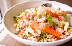 Thailand vermicelli and seafood dress salad Stock Photos