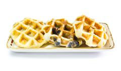 freshly baked waffles on plate - stock photo