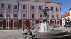 Fountain square Tartu Estonia Stock Footage