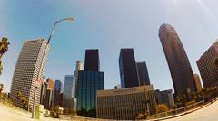 Low Angle First Person View From Car Approaching Downtown Area - stock footage