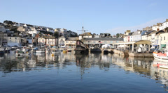 Brixham harbour Devon England Torbay blue sky summer day Stock Footage