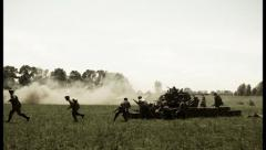 German attack on Soviet in world war two reconstruction. Vintageᅠ , click for HD Stock Footage