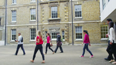 Mixed ethnicity group of students outside the entrance to university building - stock footage
