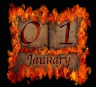 Stock Illustration of burning wooden calendar january 1.