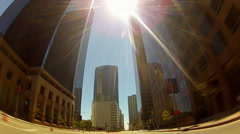 Fast Motion Driving Through Downtown Los Angeles Stock Footage