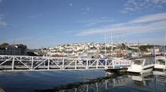 Yachts and boats in marina Brixham Devon England Stock Footage